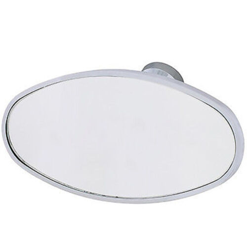 Interior Vintage Oval Chrome Rear View Glass Windshield Mirror w/ Glue On Mount