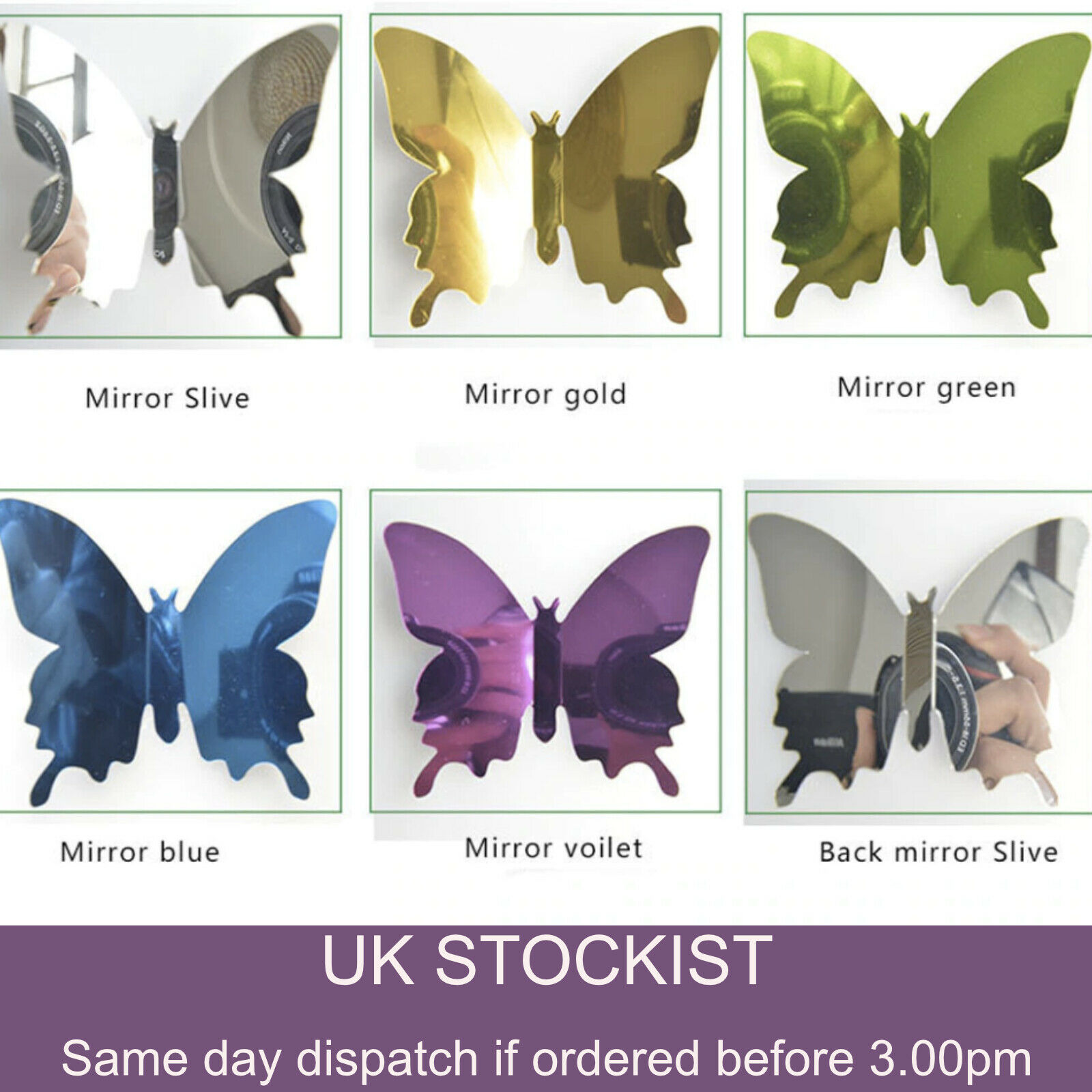 Home Decoration -  12 x 3D Butterfly Wall Stickers Mirrored Mirror Room Sticker Bedroom Girls