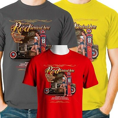 Hot Rod T Shirt Pinup Girl Rat Rod Serviced Roadhouse Gas Small to 6XL and Tall