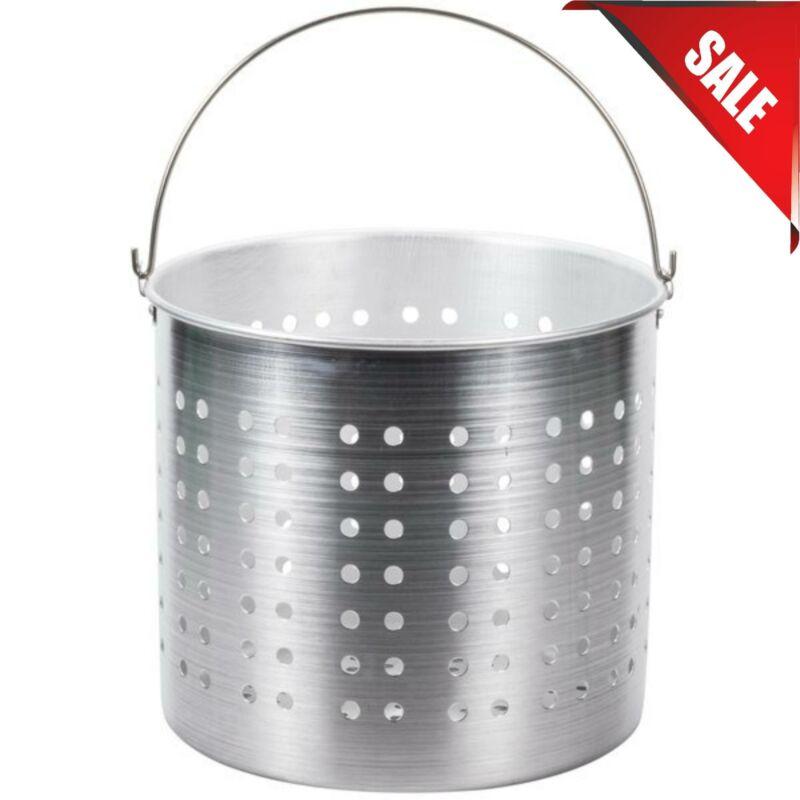 60 Qt. Round Silver Aluminum Stock Pot Steamer Basket Kitchen Cookware Durable