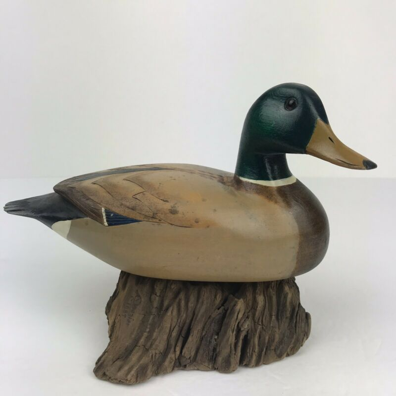 Vintage 1980 Wood Wooden Mallard Duck Sculpture Figurine Signed Sitting