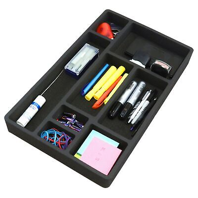 Desk Drawer Organizer Insert Black Home Or Office 8 Slot 19.9 X 12.1 No Rattle