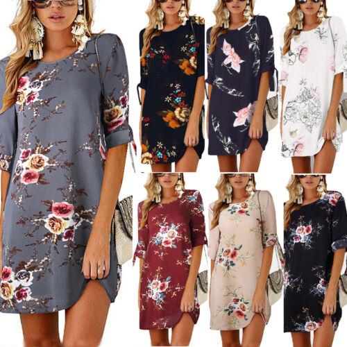 Damen Blumenkleid Minikleid Freizeit Tops Strandkleid Sommertkleid Blusen Tunika