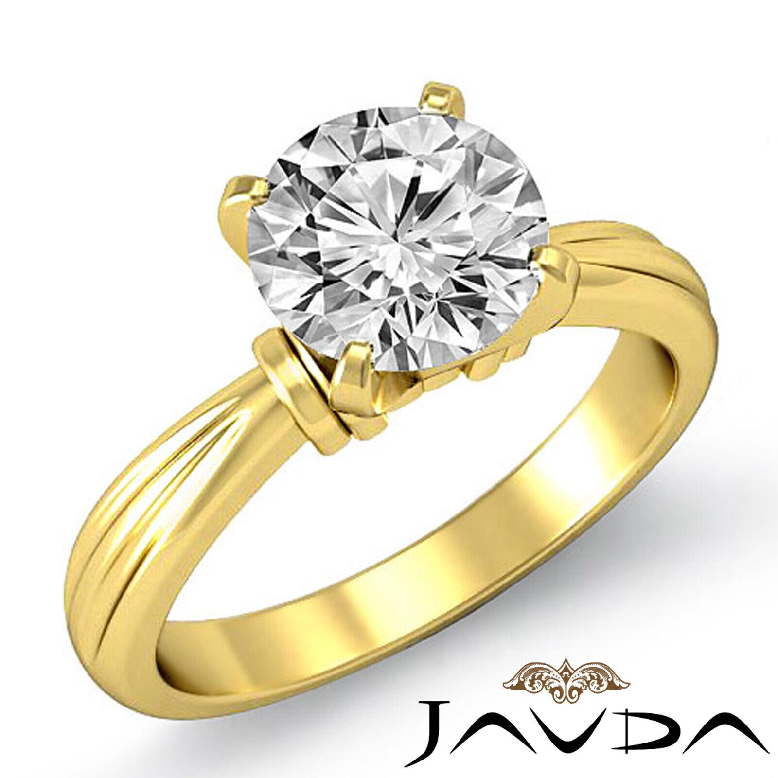 Round Solitaire Natural GIA H Color VVS2 Diamond Women's Engagement Ring 1 ctw. 1