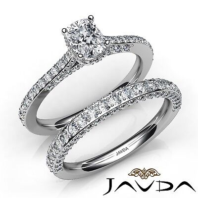 2.16ctw Pave Circa Halo Bridal Cushion Diamond Engagement Ring GIA G-VS2 W Gold