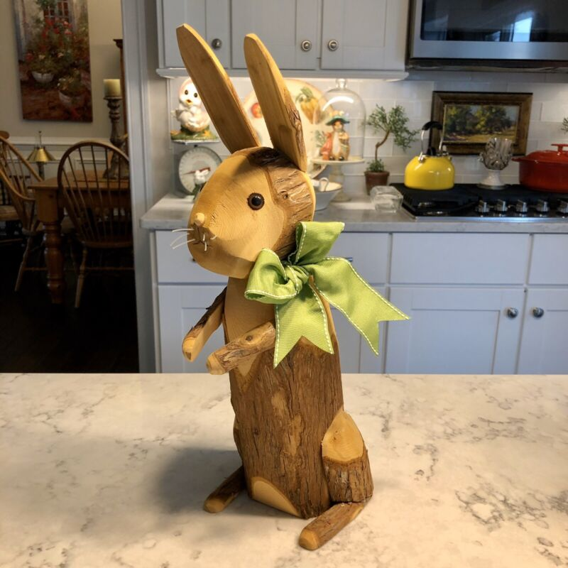 "Bunny Rabbit Hand Carved Wood Figurine 17"" Easter Decor"