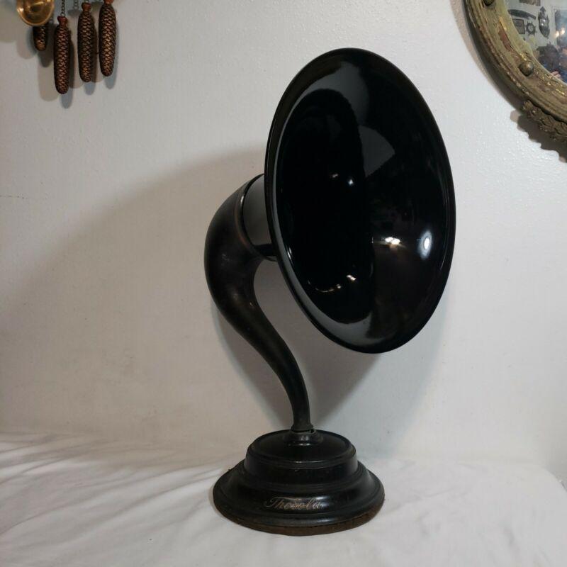 Rare Antique 1920s THOROLA Model 4 Goose-Neck Horn Radio Speaker Bakelite Bell