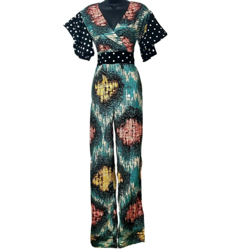African Print Women Green Romper with Black and White Pokadot Detail