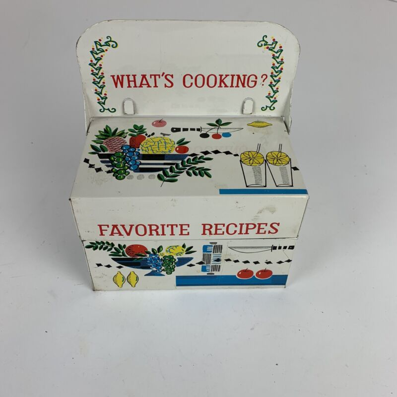 Vintage What's Cooking Favorite Recipes Tin Box With Recipe Stand