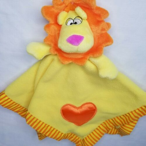 Baby Boom Lion Lovey Security Blanket Yellow Plush Orange Hearts Striped Edges