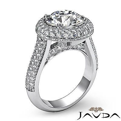 3 Row Shank Double Halo Round Diamond Engagement Ring GIA F SI1 Clarity 2.5 Ct 2