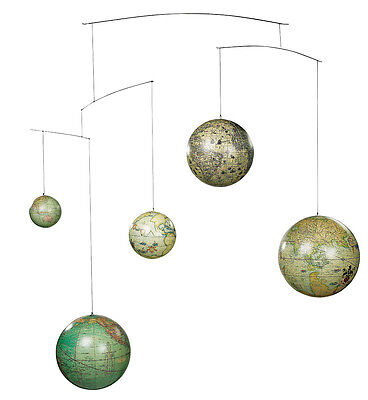 Old World Terrestrial Globe Mobile Hanging Decor Mercator Hondius Vaugondy Weber