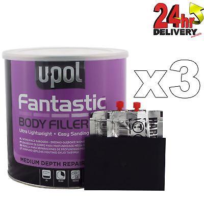 3 x U-Pol Fantastic Polyester Body Filler 3L Upol