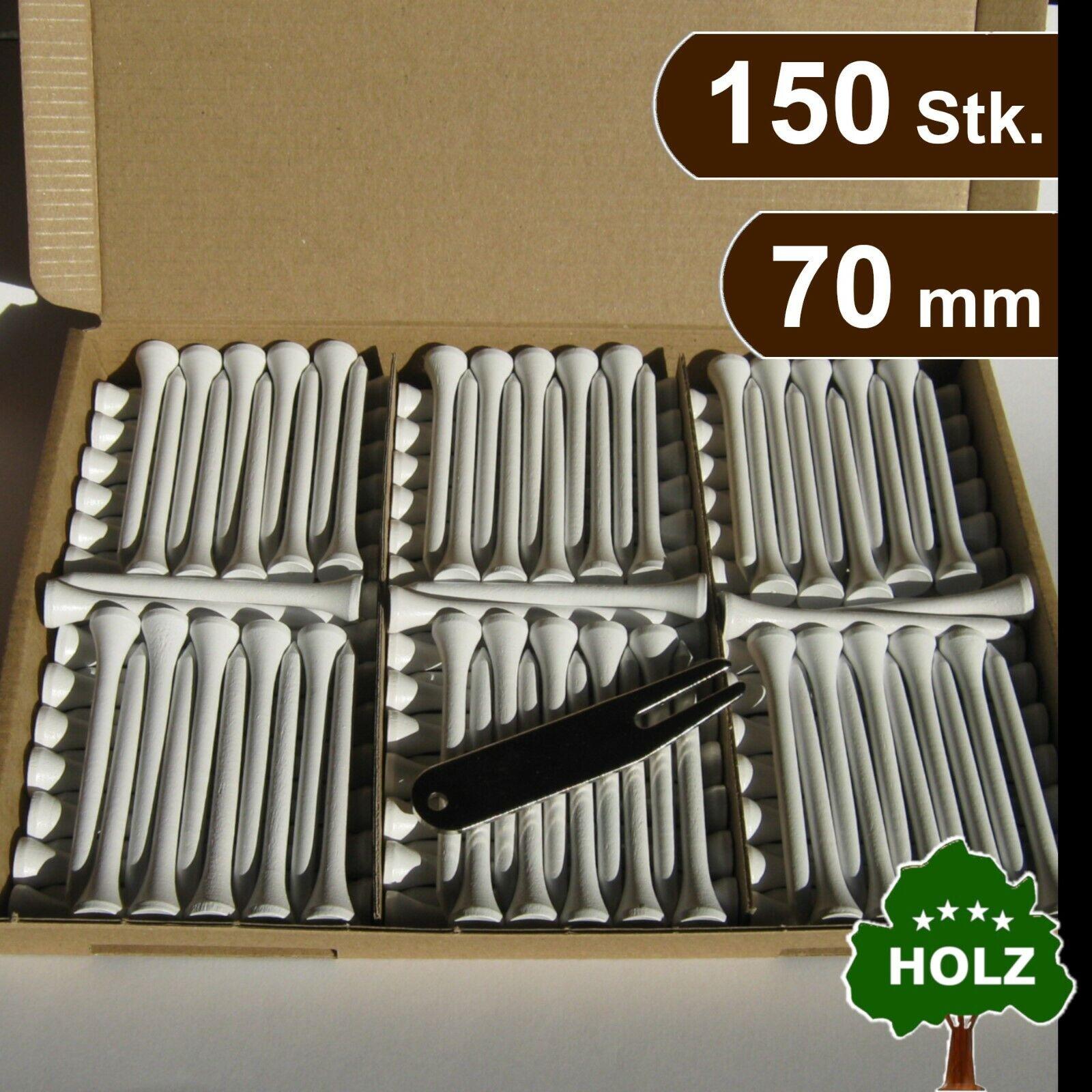GOLF TEES (Holz) + PITCHGABEL (Metall) - 70 mm - 150 Stk. - weiß -> premium Set