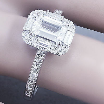 GIA G-VS2 14k White Gold Emerald Cut Diamond Engagement Ring Deco Halo 1.60ctw 9