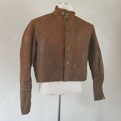 Vintage 30s/40s Tillman Welders Riveted Leather Hide Jacket Brown Workwear M