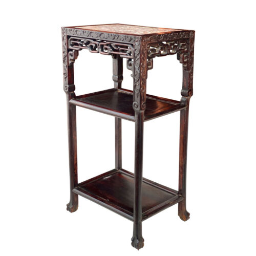 Antique Chinese Qing Dynasty Heavily Carved Blackwood Marble Top Plant Table