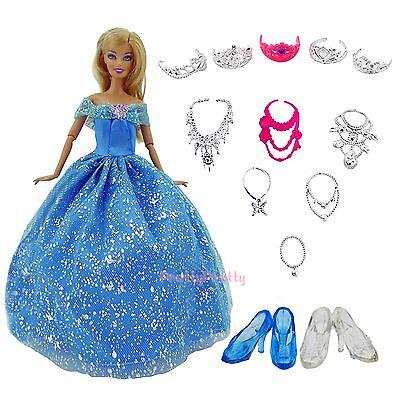 Prinzessin Party Kleid Kleider Kleidung Schuh Halskette Krone Für Barbie Puppe D ()