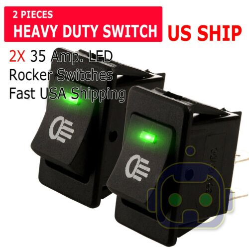 2X Green LED 12V 35Amp Heavy Duty Toggle Flick Switch ON/OFF Car Dash Light SPST