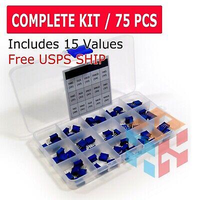 75pcs 15 Value New 3296w Multiturn Variable Resistor Trimmer Potentiometer Kit