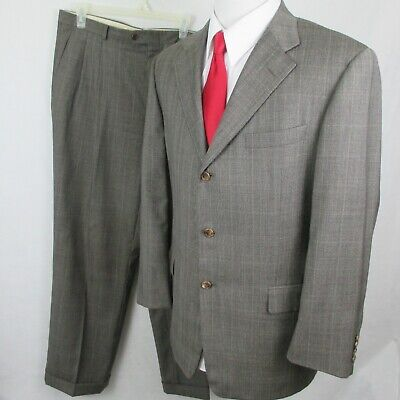 Hickey Freeman Loro Piana Glen Plaid Windowpane 3 Btn Grey Suit 42R 36 x 31