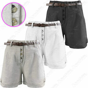 NEW-LADIES-LINEN-CHINOS-SHORTS-WOMEN-BELTED-HOT-PANTS-CROP-SHORT-TROUSERS