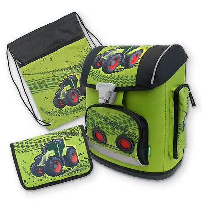 Schul Ranzen Set Mäppchen gefüllt Turnbeutel Sporttasche für Jungen Traktor neu