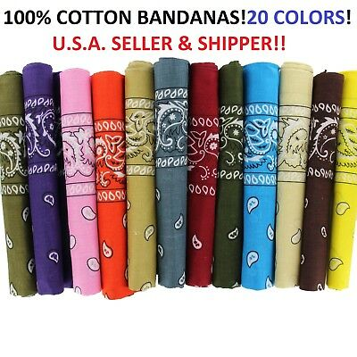 Print Bandanas (Lot Of 12 100% Cotton Paisley Print Scarf Bandanas Head Wrap Wristband)