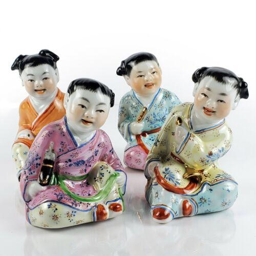 Vtg Set of 4 Chinese Porcelain Children Figurines Singing w Musical Instruments
