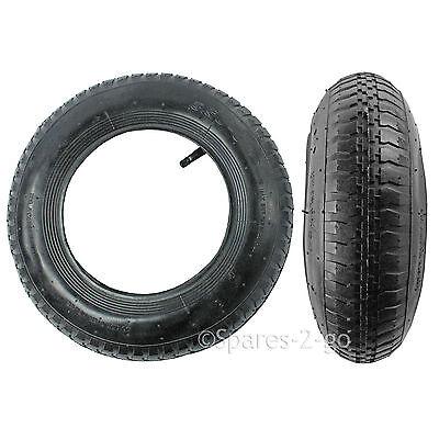 2 Wheelbarrow Wheel Inner Tube and Barrow Tyre 3.50 / 4.0 - 8 + Innertube 35PSi