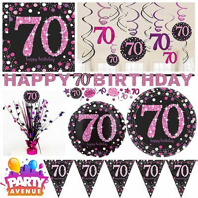 Pink Sparkling Celebration 70th Birthday Party Tableware Decorations Balloons