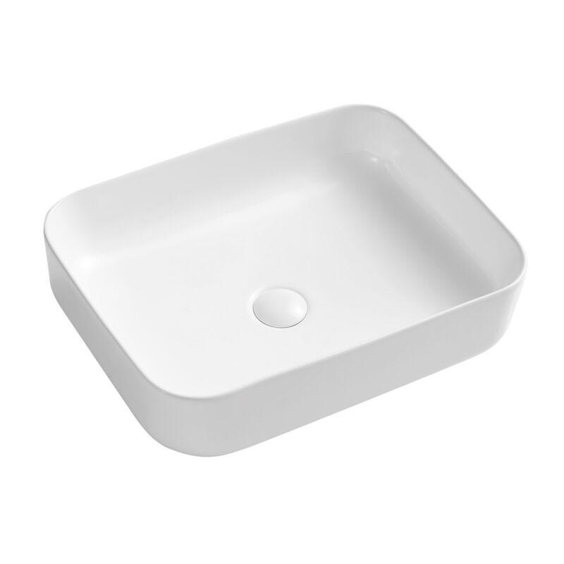 White Ceramic Bathroom Vessel Sink Rectangular Vanity Basin with Pop-up Drain