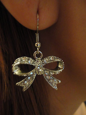 Silver Bow Diamond Earrings!  Perfect Accessory!!
