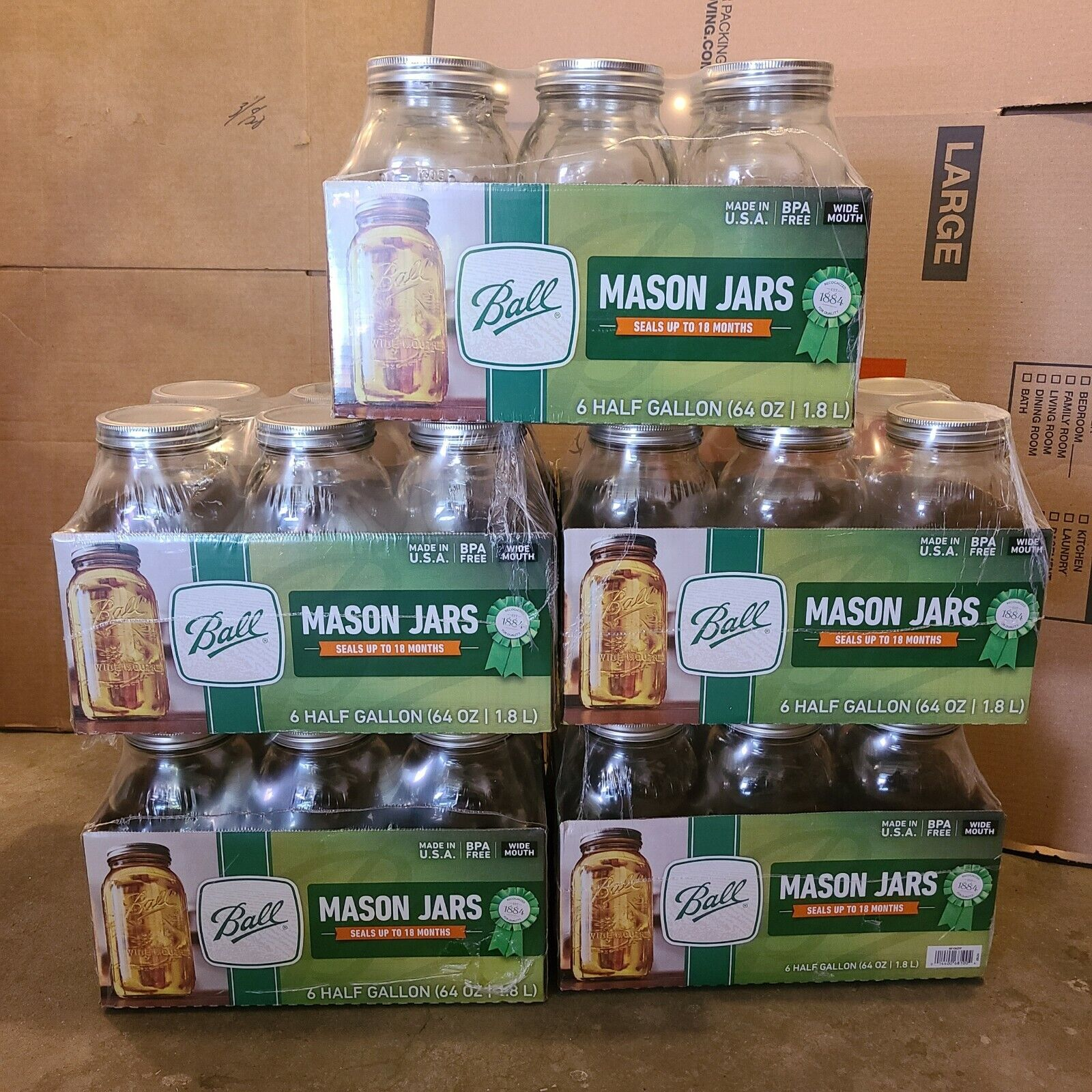Ball Wide Mouth Canning Mason Jars, Half Gallon Clear Glass