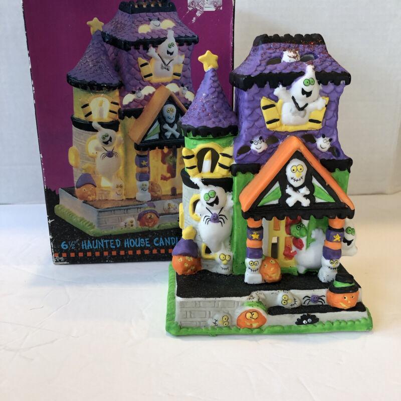"""Vintage Kookie Spookies Haunted House 6.5"""" Ghost Pumpkin Votive Candle Holder"""