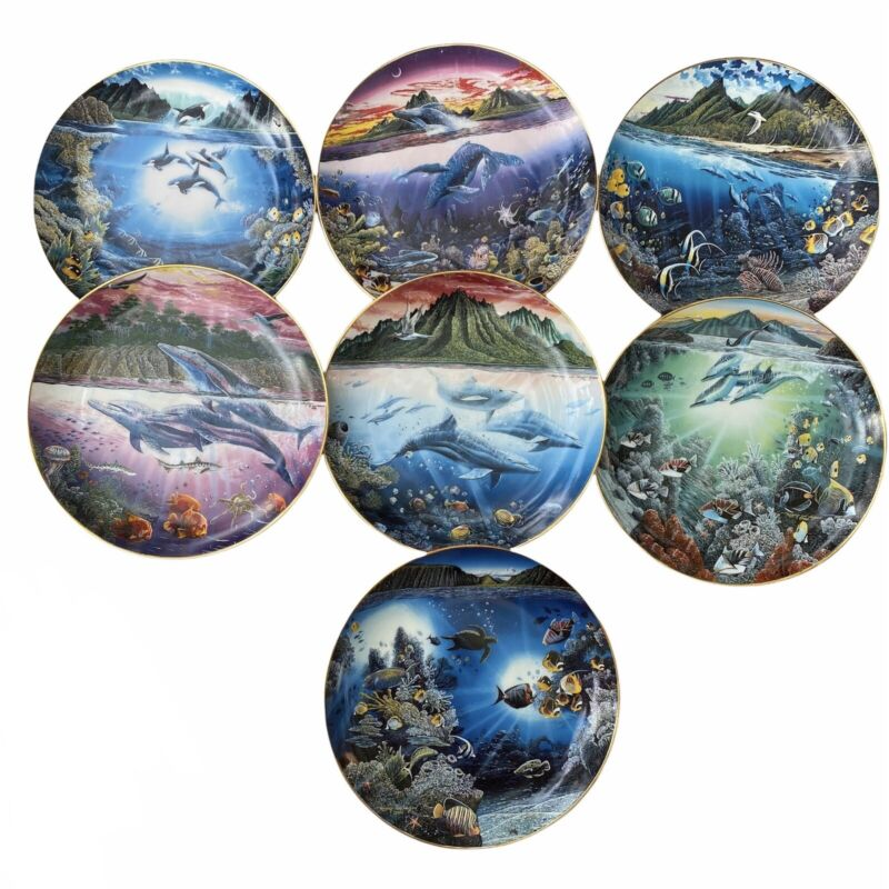 7 UNDERWATER PARADISE 8 inch Plates Collection Robert Lyn Nelson DANBURY MINT