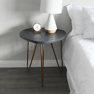 Used, Wooden Side Table Stool Gray Finish Bronze Legs Night Stand WELLAND for sale  Shipping to India