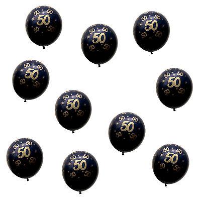 Luftballons Schwarz (10x Luftballons Zahl 50 Geburtstag Jubiläum Goldene Hochzeit Ballons Schwarz)