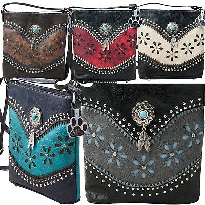 Western Crossbody Handbag Concealed Carry Hanging Feather Tassels Tooled Purse