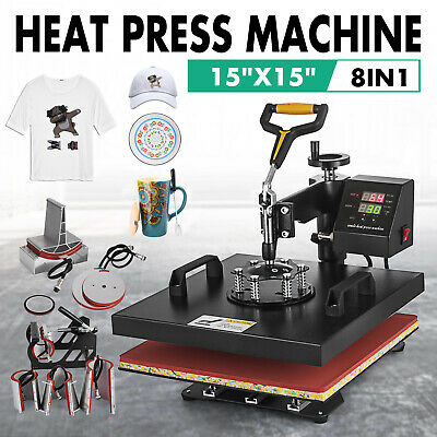 "8IN1 Combo Heat Press Machine 15""x15"" Sublimation Transfer T-Shirt Mug Plate Hat"