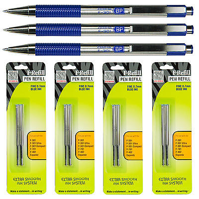 Zebra F-301 Retractable Pens With F Refills Blue Ink 0.7mm Fine Point