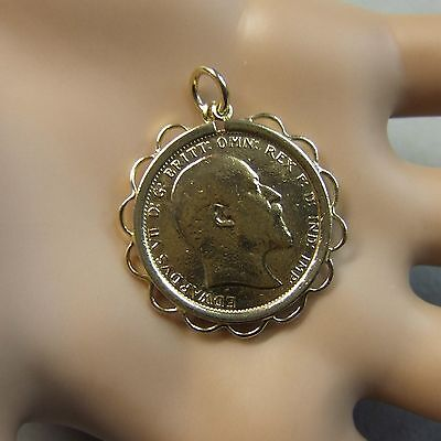 9 ct gold second hand edwardian full sovereign & mount