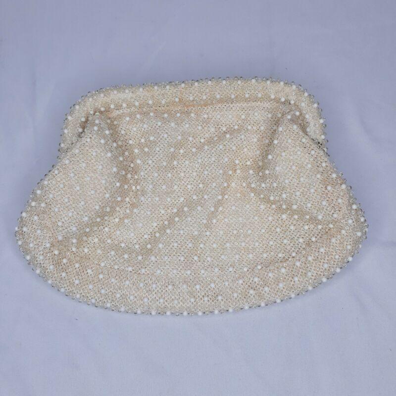 Vintage Lumured Ivory Corde Bead Clutch Purse Handbag Spring Closure USA