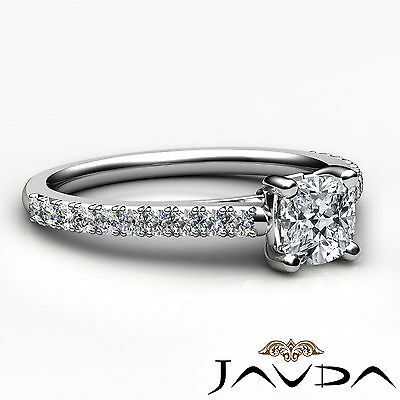 Cushion Shape French V Pave Diamond Engagement Ring GIA Certified F VVS2 1.01Ct 2