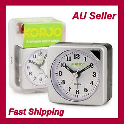 Small Table Desk Analogu Travel Alarm Clock with Snooze Night Light Glow Silver