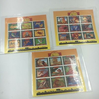 DISNEY - Uganda - Lion King - 3 Sheets  Mint NH With COA