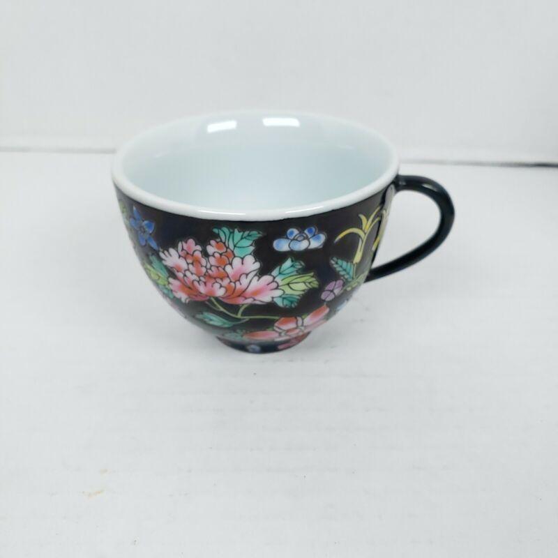 Vintage Jingdezhen Zhongguo Famille Rose Noire Mille Fleur Tea Cup