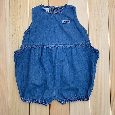 Guess Baby Girls Vintage One Piece Bodysuit Jumper Blue Chambray Size 18M Girls One Piece Bodysuit