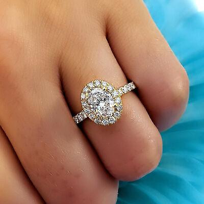 1.95 Ct Oval Cut Diamond Engagement Halo Ring U-Setting Pave H VS2 18K Gold GIA