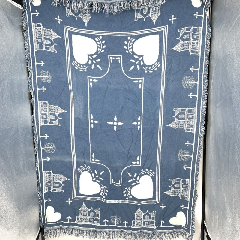 Vintage 80s Goodwin Weavers Knit Throw Victorian Houses Reversible